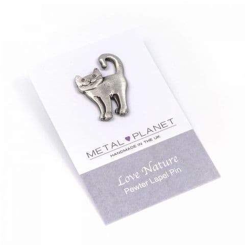 Curly Tail Cat- Pewter Jacket, Lapel or Coat Pin